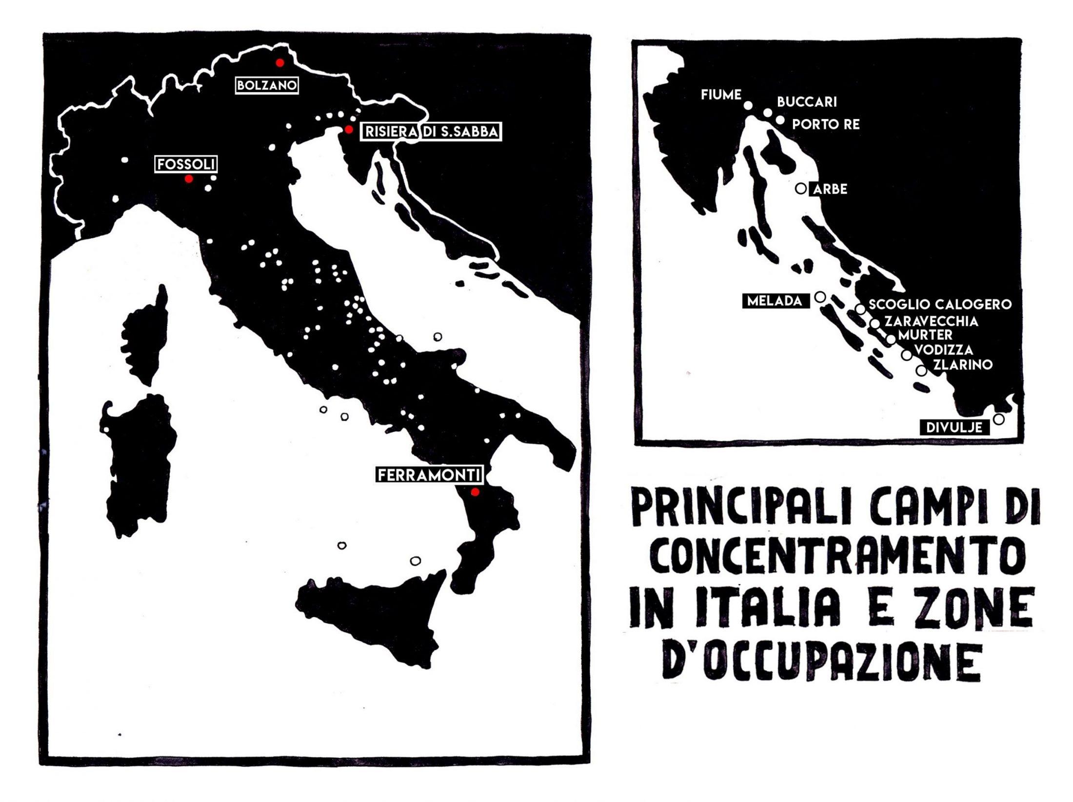 mappa campi concentramento italia